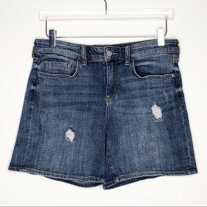 Anthro | Pilcro Distressed Slim Boyfriend Shorts
